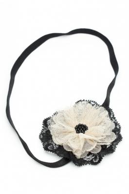 Bandana cu floare din dantela Sophie - bej