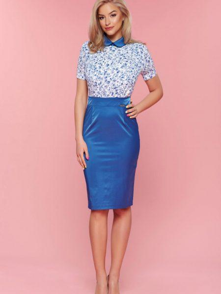 rochie albastra cu guler