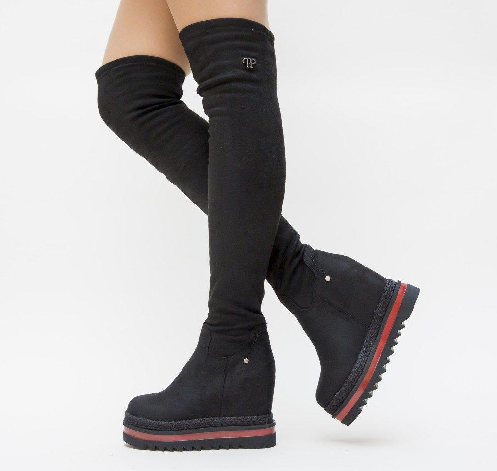 Cizme peste genunchi cu talpa platforma
