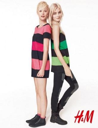 Divided, colectia H&M, dungi, rochii, fusta multicolora, tricou, camila, negru, rosu, albastru, moda anilor 80, sport, urban, roz, verde, turcoaz