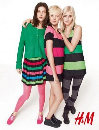 Divided, colectia H&M, colectie toamna 2011, dungi, rochii, fusta multicolora, tricou, camila, negru, rosu, albastru, moda anilor 80, sport, urban, roz, verde, turcoaz