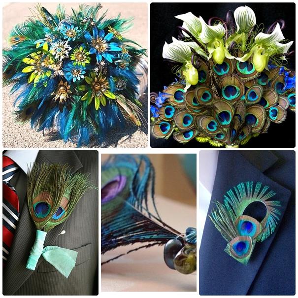 ornamente florale cu pene paun