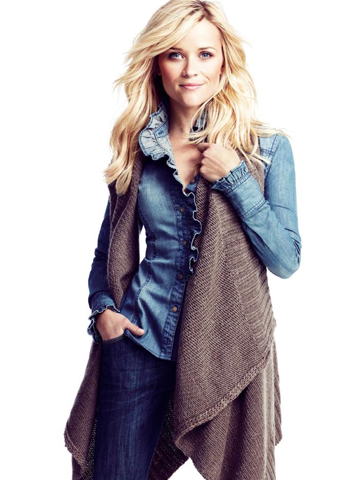 Reese Witherspoon, imaginea Lindex, toamna 2011, campania, California Denim, haine tricotate