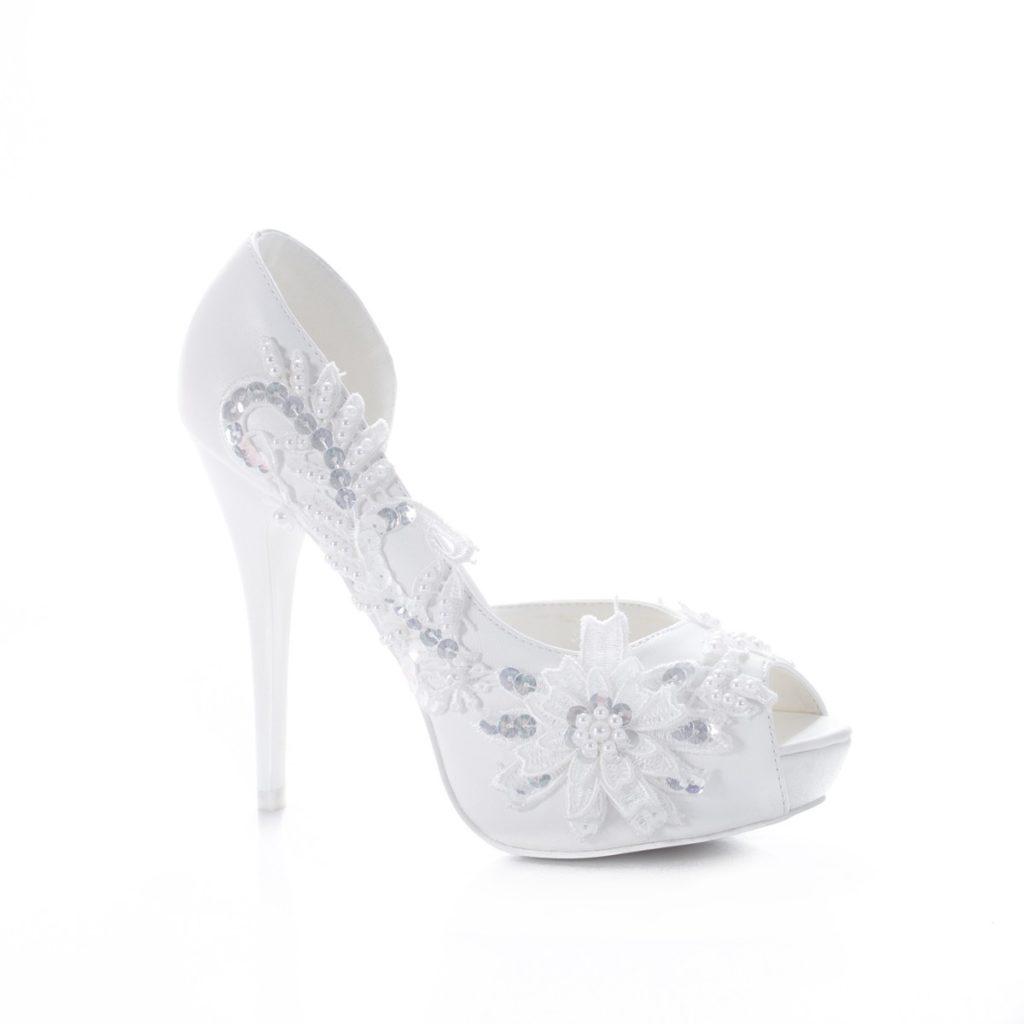 pantofi albi decorati