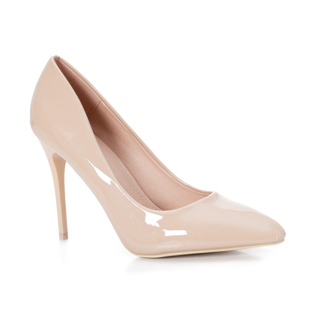 pantofi de nunta bej cu toc