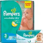 Pampers Active Baby 3 Midi Jumbo Pack 4-9Kg (82) + Servetele Baby Fresh (64)