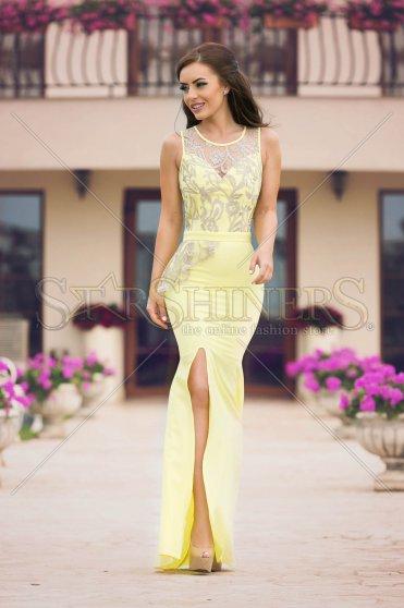 Rochie cu dantela, culoare galbena -