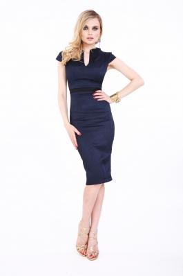 Rochie bleumarin Roserry midi eleganta