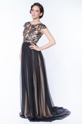 Rochie lunga cu maneca scurta din broderie si voal - negru/creme