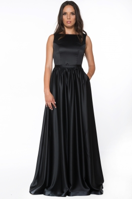 Rochie lunga din tafta satinata - negru