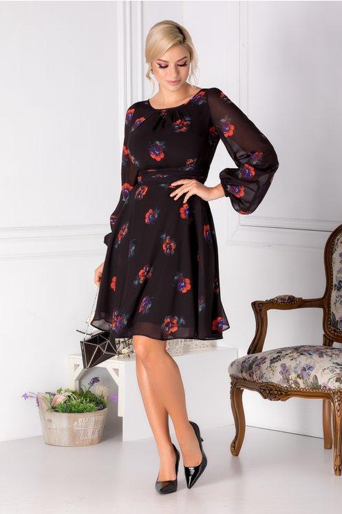 rochie neagra cu flori rosii