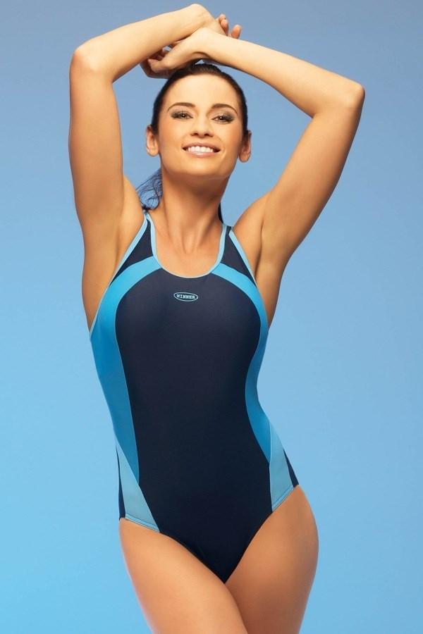 costum de baie sport negru-bleu