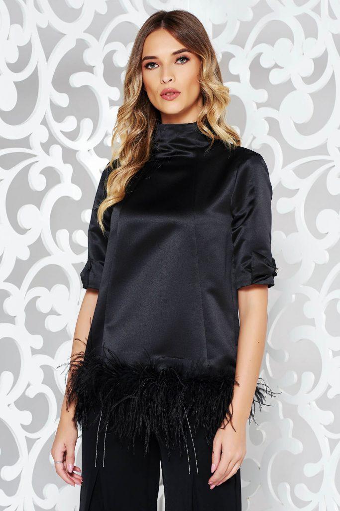 bluza neagra eleganta cu puf