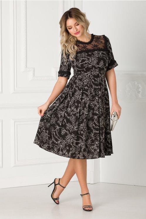 rochie clos neagra cu floricele