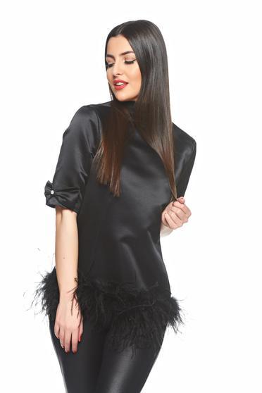 Bluza Ana Radu Basic Feathers Black