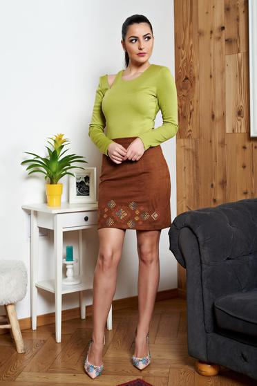 Bluza Dama Verde-deschis  Cu Decupaje In Material
