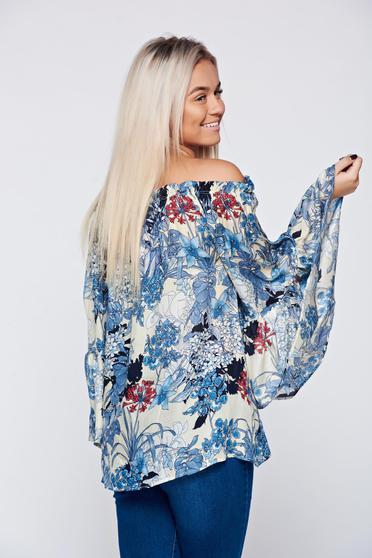 Bluza dama Daniella Cristea albastra cu croi larg cu maneci clopot -