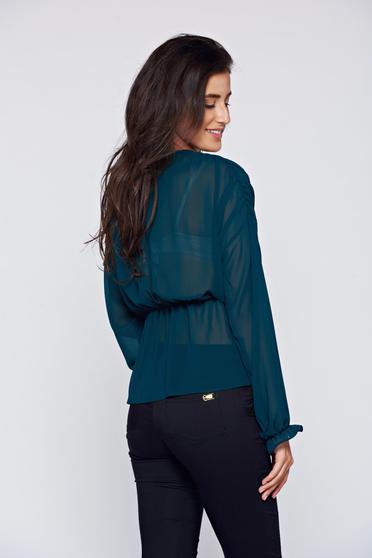 Bluza dama Daniella Cristea verde eleganta din voal cu elastic in talie -