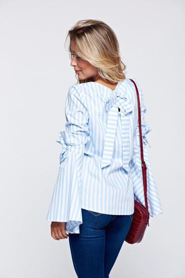 Bluza dama LaDonna albastra-deschis din bumbac -