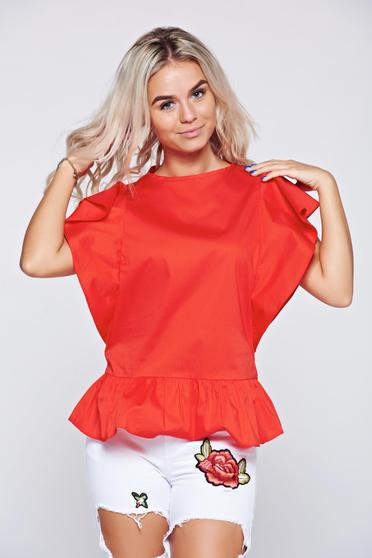 Bluza dama LaDonna rosie casual din bumbac cu volanase la maneca