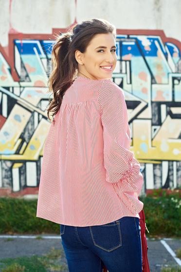 Bluza dama LaDonna rosie din bumbac brodata cu maneci clopot 1