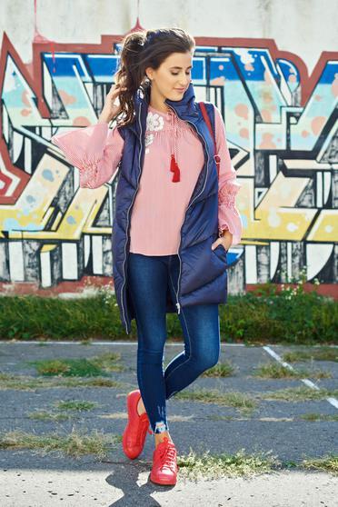 Bluza dama LaDonna rosie din bumbac brodata cu maneci clopot 2