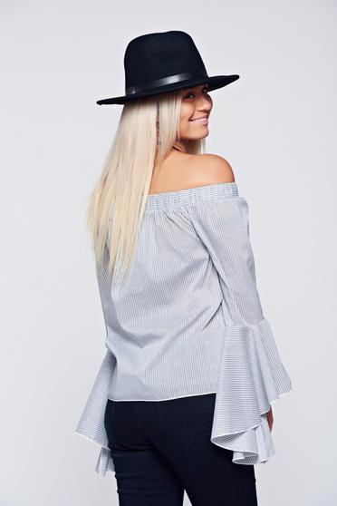 Bluza dama PrettyGirl gri casual cu maneci clopot -