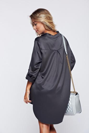Bluza dama gri-inchis eleganta cu croi larg cu maneca lunga -