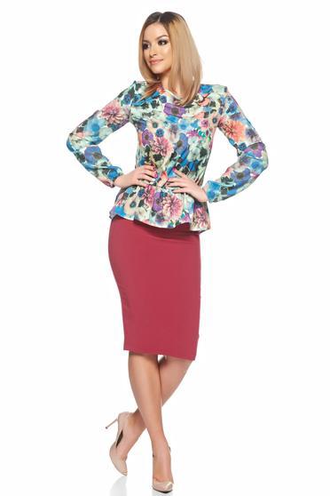 Bluza dama mov  cu maneca lunga si imprimeuri florale