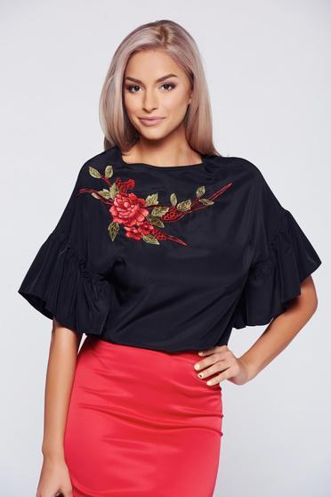 Bluza dama  neagra brodata eleganta cu maneca scurta