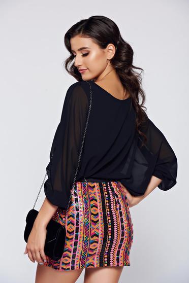 Bluza dama neagra eleganta cu croi larg cu aplicatii de dantela -
