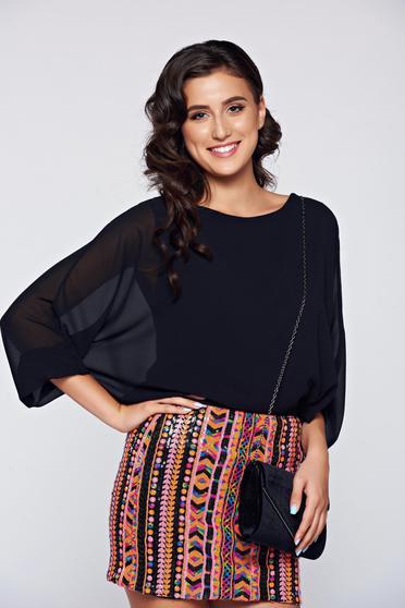 Bluza dama neagra eleganta cu croi larg cu aplicatii de dantela