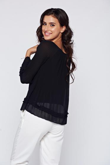 Bluza dama neagra eleganta din material vaporos -
