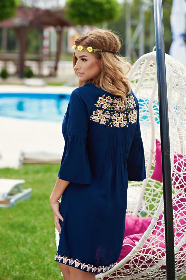 Ie  Traditionala Cute Embroidery DarkBlue -