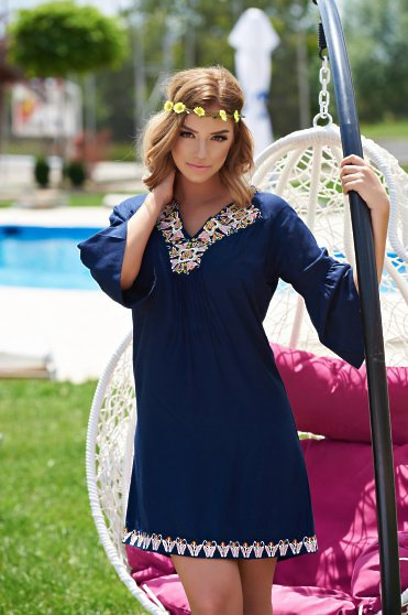 Ie  Traditionala Cute Embroidery DarkBlue
