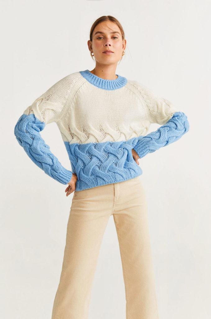 pulover alb-albastru deosebit