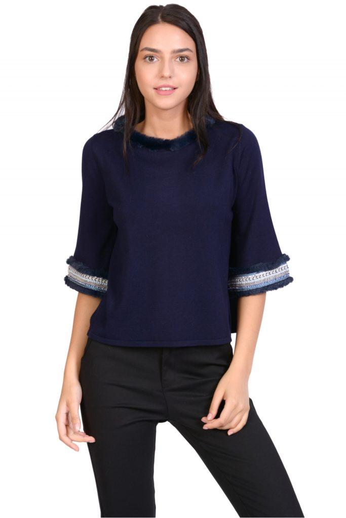 pulover elegant cu guler blanita