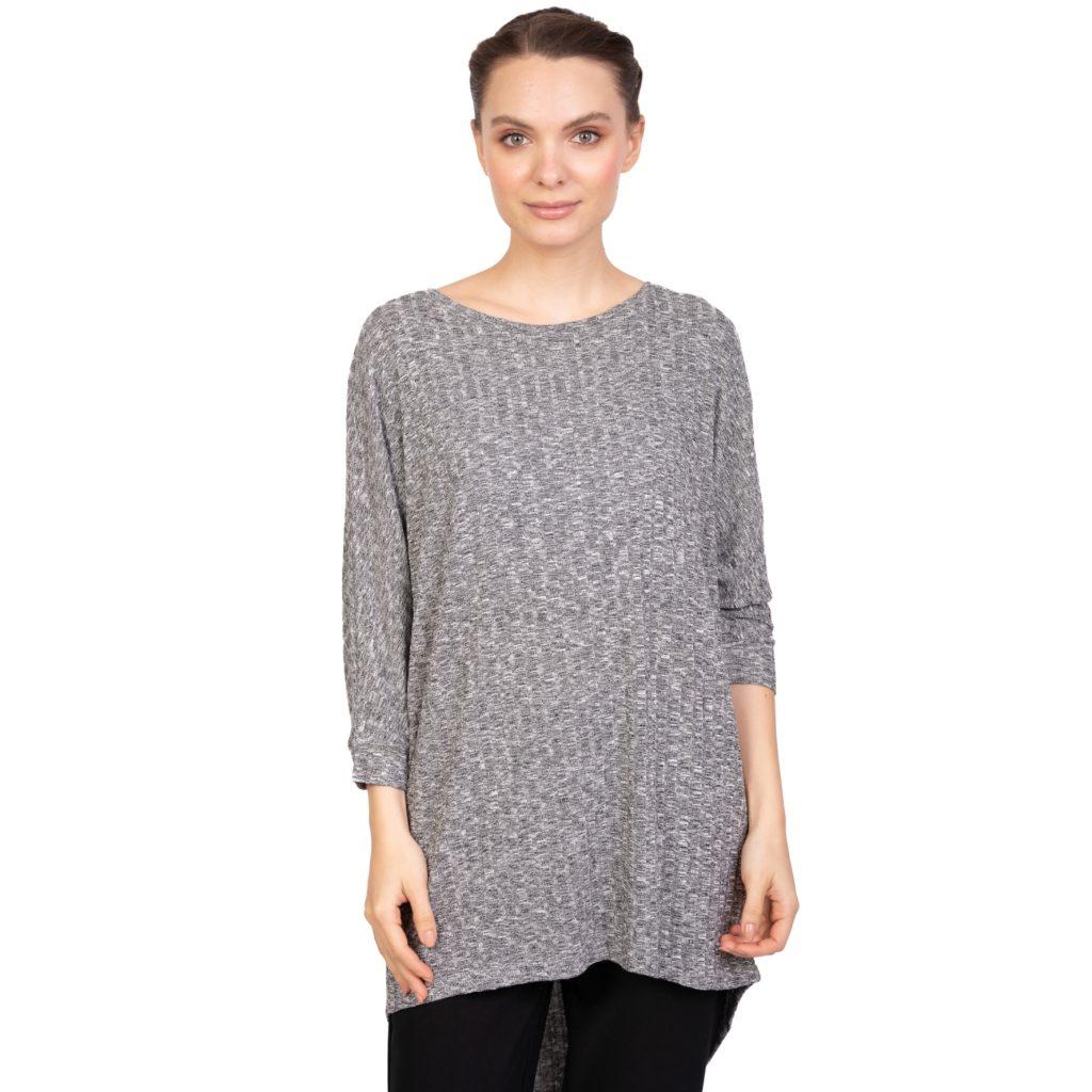 pulover gri lung cu striatii