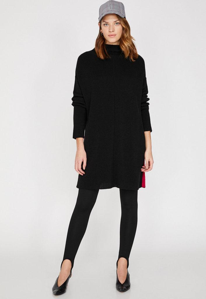 pulover negru lung cu slituri laterale