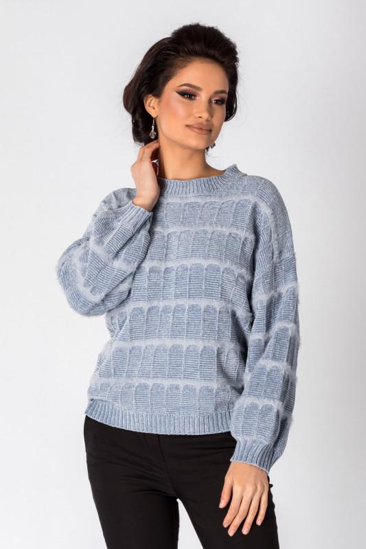 pulover tricotat scurt culoare gri