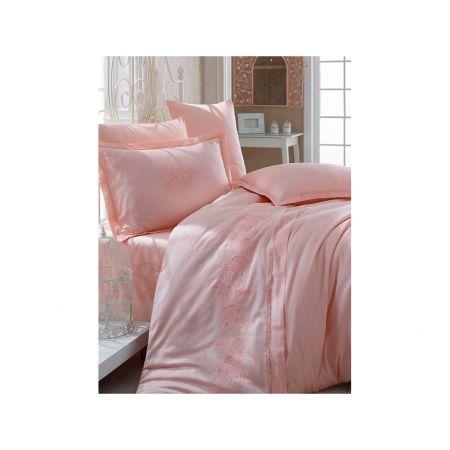 lenjerie de pat roz din satin