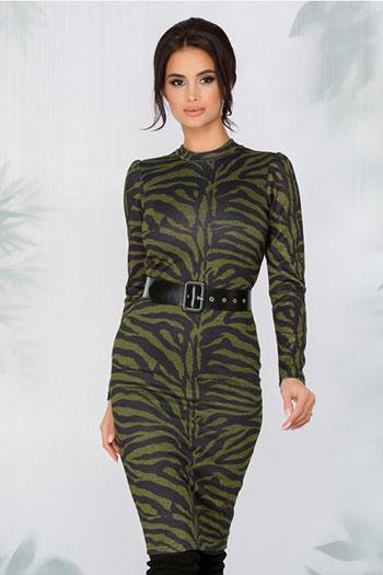 Rochie cu print zebra neagra-verde