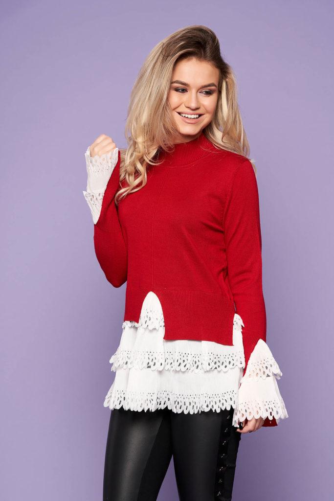 pulover rosu ideal pentru gravide