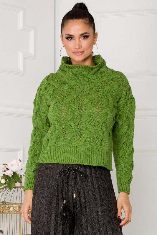 pulover verde scurt in talie