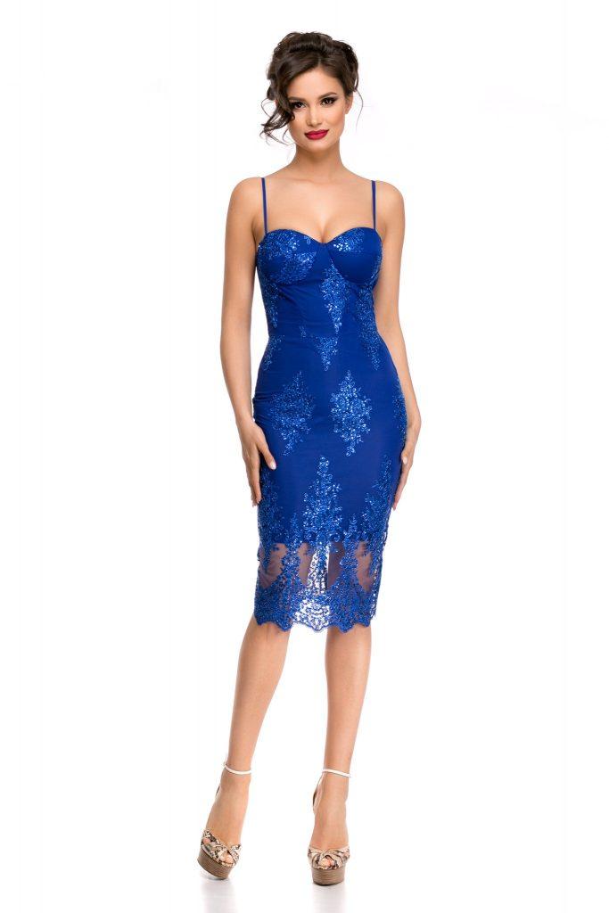 rochie albastra paiete