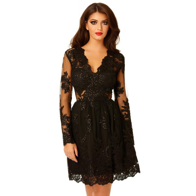 rochie neagra din dantela stralucitoare
