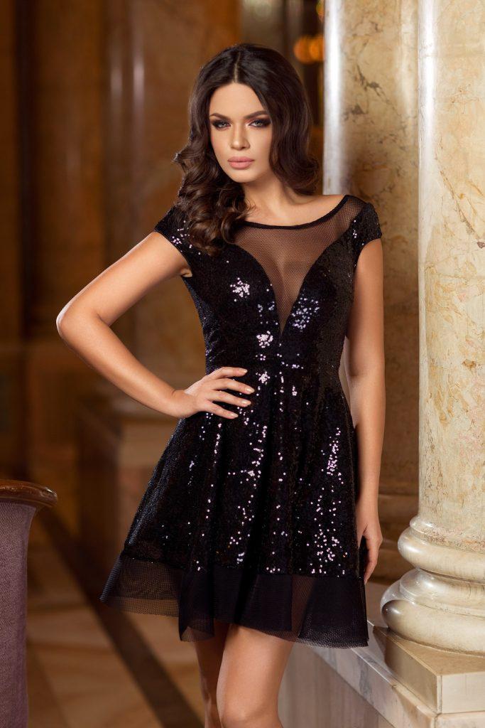 rochie neagra din paiete