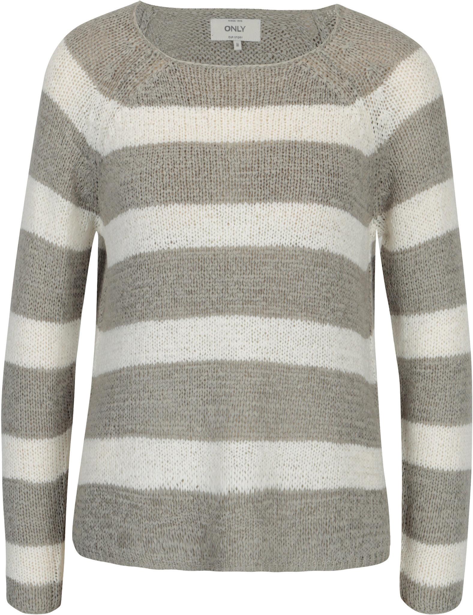 pulover crem gri cu dungi