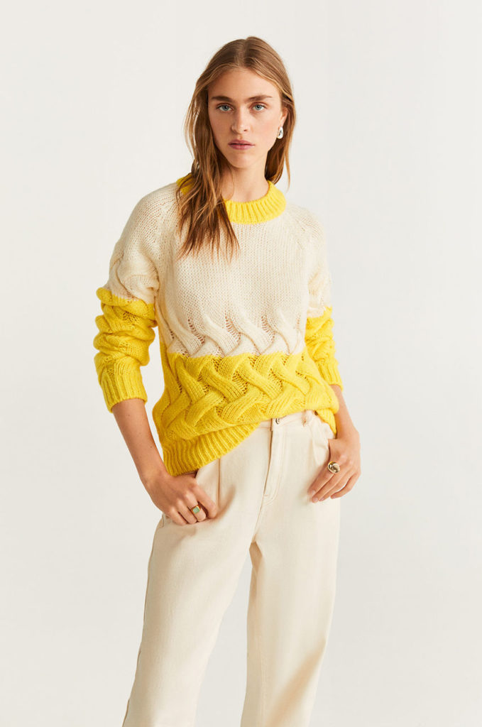 pulover deosebit alb-galben