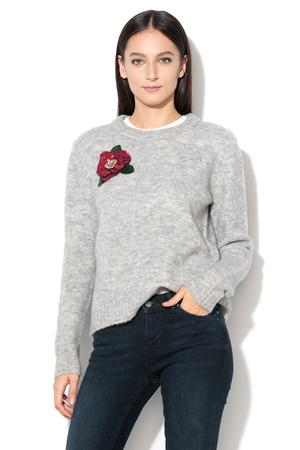 pulover din lana cu floare aplicata